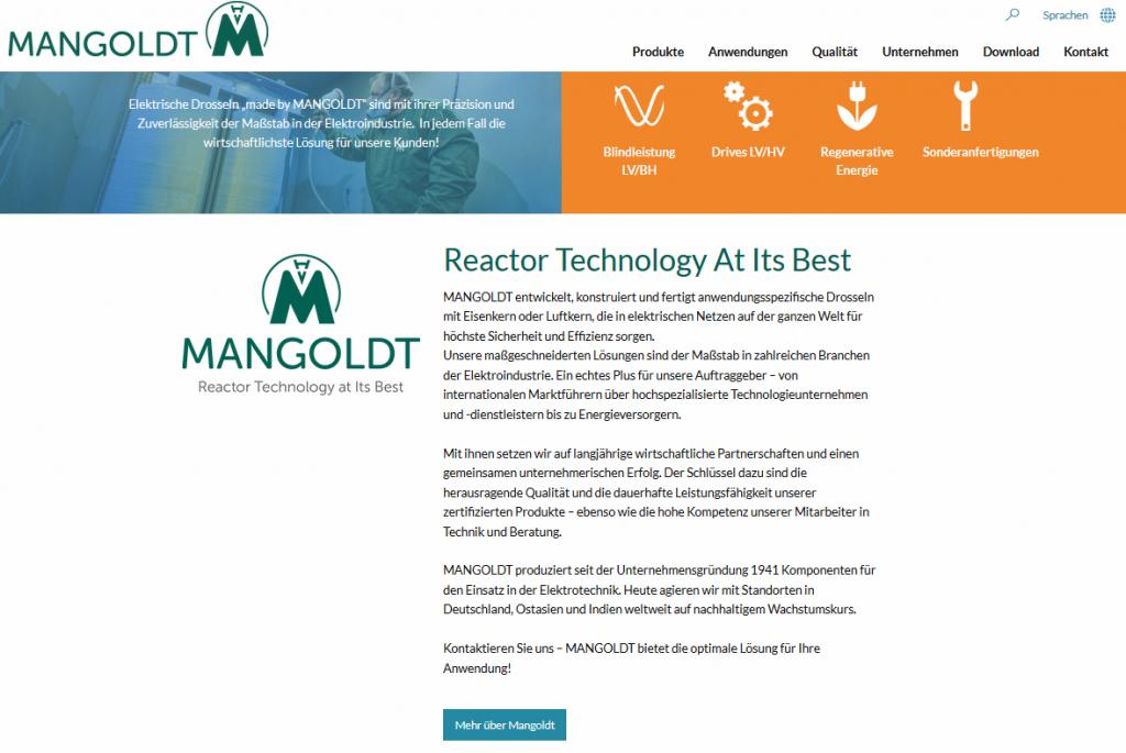 Mangoldt Unternehmensporträt Startseite