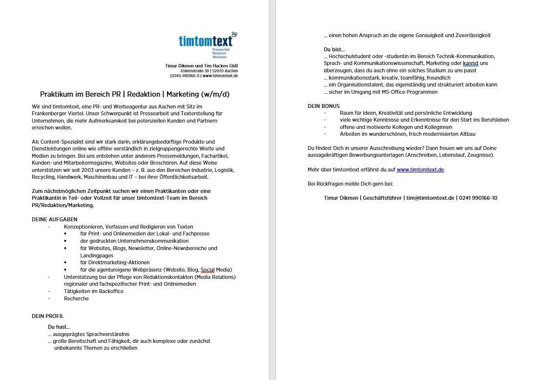 PDF-Download Stellenanzeige Praktikum im Bereich PR   Redaktion   Marketing (m/w/d)