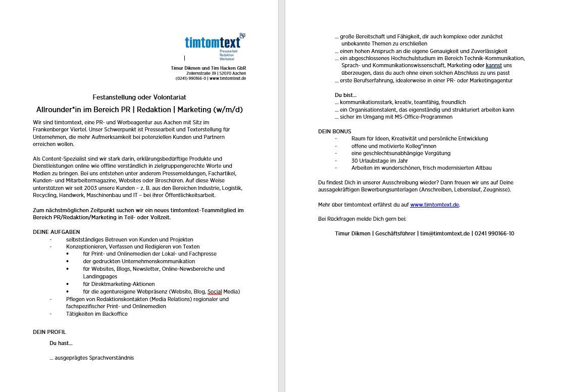 PDF-Download Stellenanzeige Vorlontariat oder Festanstellung, Teil-/Vollzeit, im Bereich PR   Redaktion   Marketing (m/w/d)
